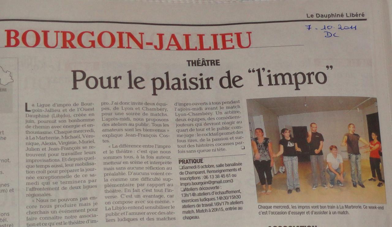Article Dauphiné Libéré 07/10/11